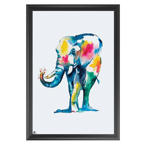 Watercolour Elephant - Matteo - Framed