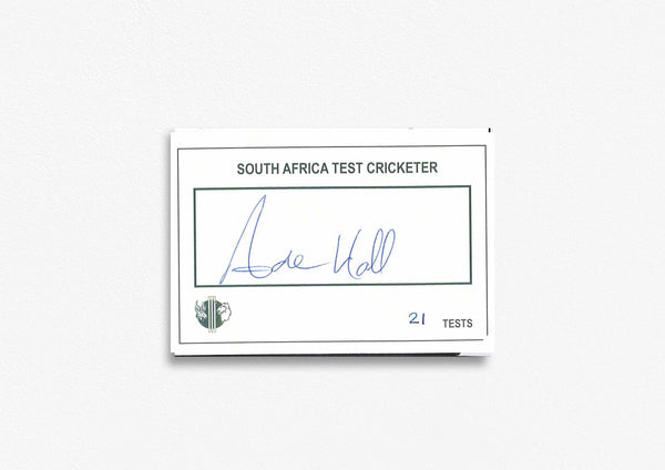 South African Test Cricketer Card Signed - Andrew Hall