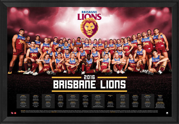 Brisbane Lions Football Club Official 2016 Afl Team Poster Framed