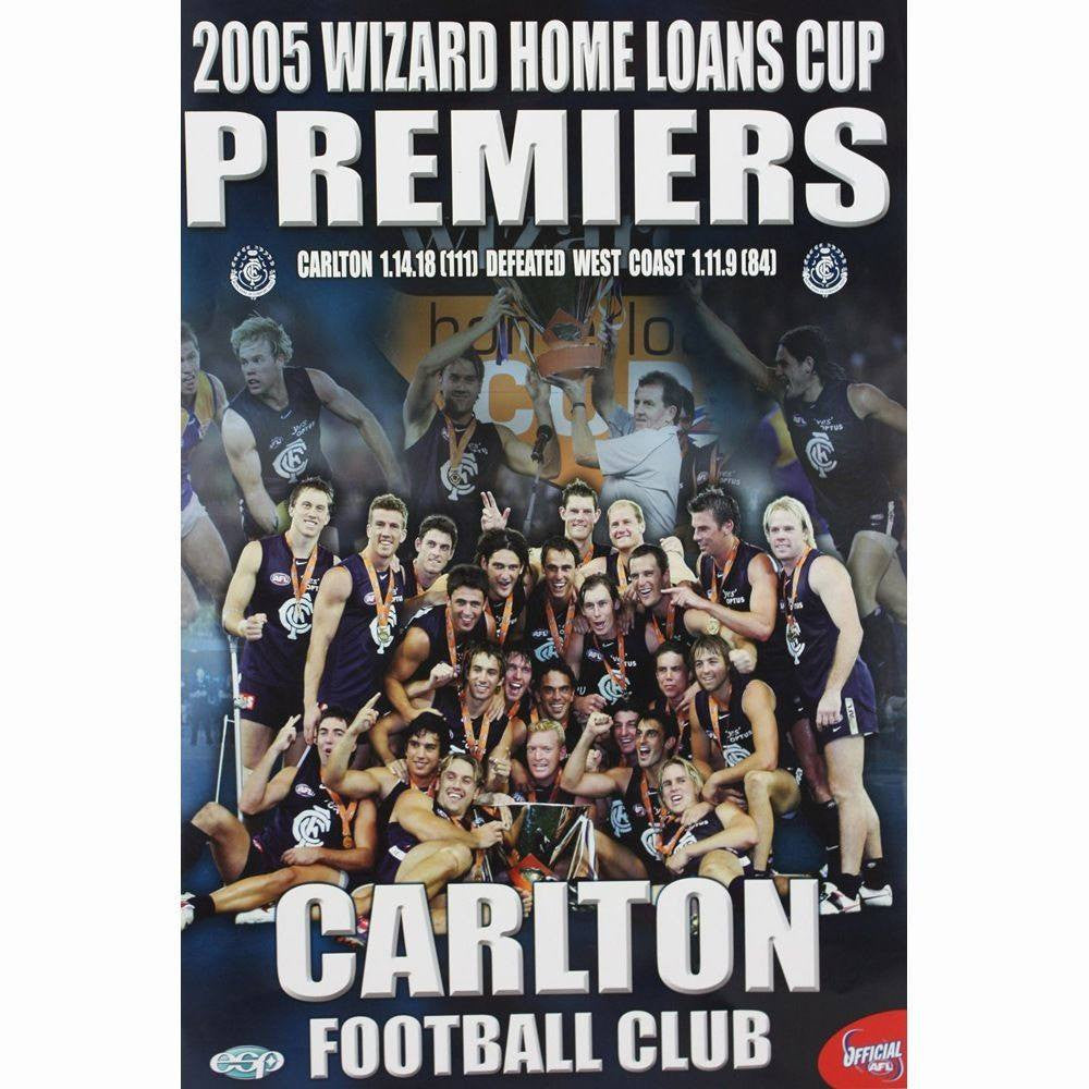 Carlton Blues Official AFL 2005 Wizard Cup Premiers Poster