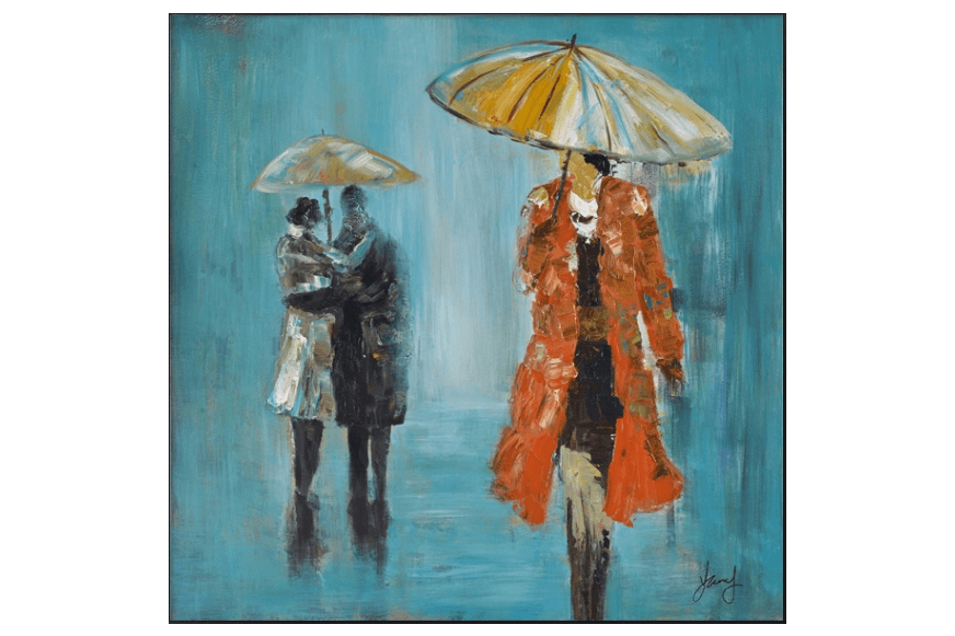 3D People under Umbrellas Framed Canvas