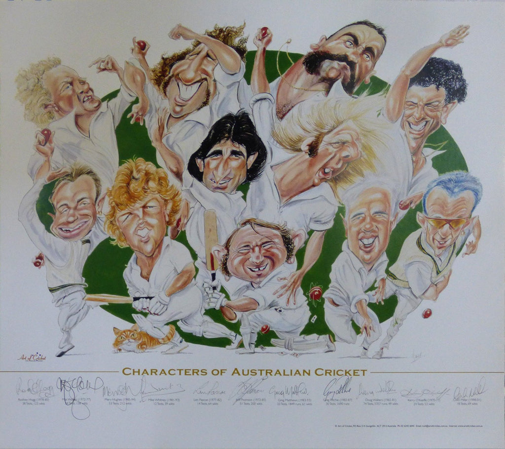 Characters Of Australian Cricket Poster - Signed by 11 Iconic Test Players