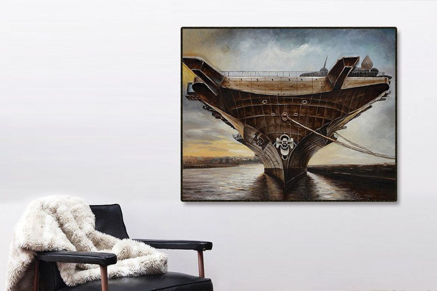 Air Ship 3D Framed Canvas