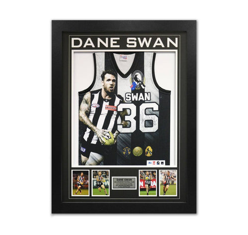 Dane Swan Signed Collingwood Jumper Framed with Photos