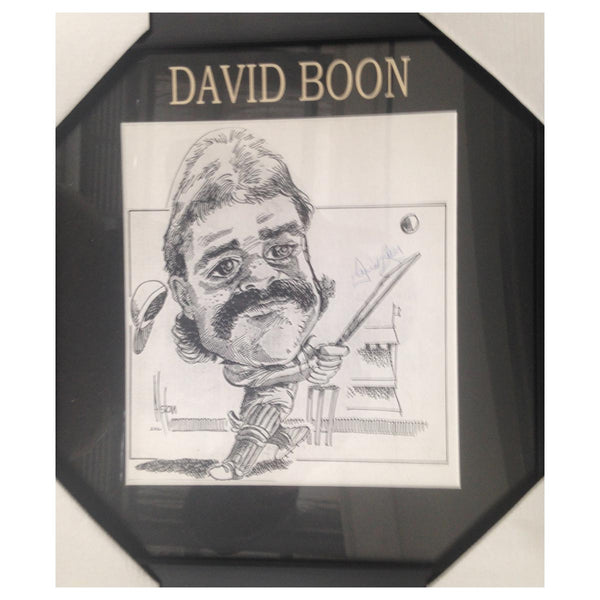 DAVID BOON MBE Australian Test Cricket CARICATURE SIGNED FRAME