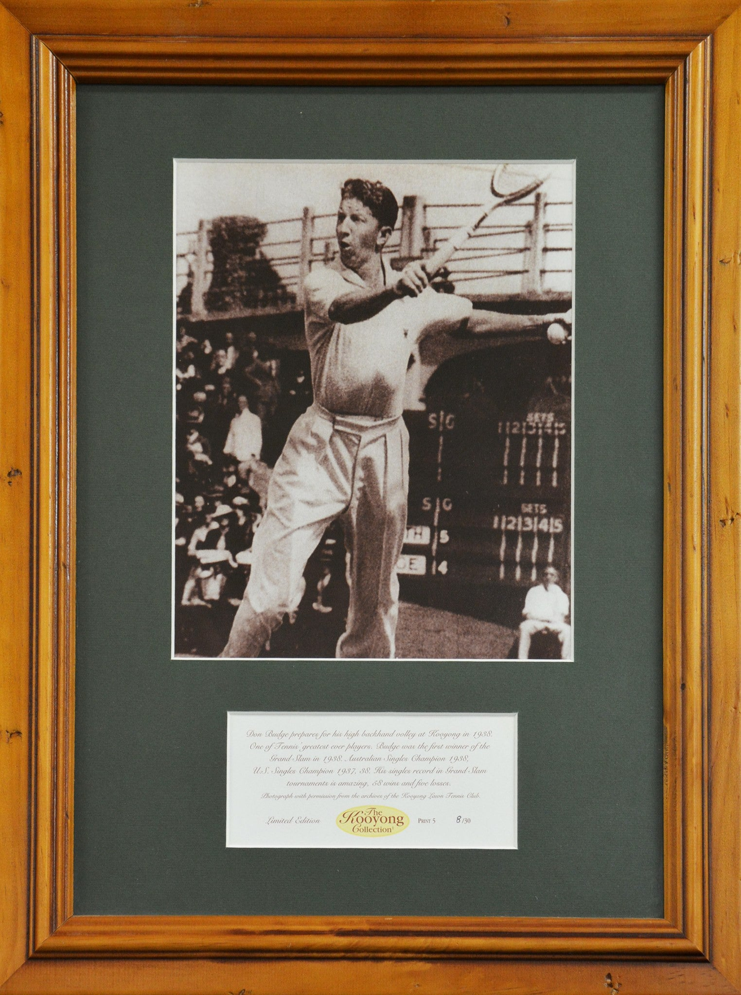 Don Budge Kooyong Collection Framed graph Tennis Rare