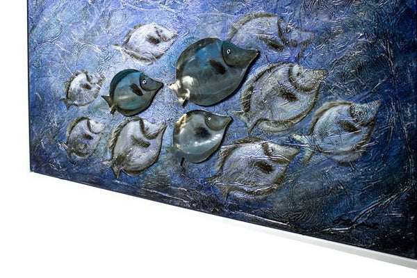 3D - Fish white frame  Oil Painting Framed Canvas Art