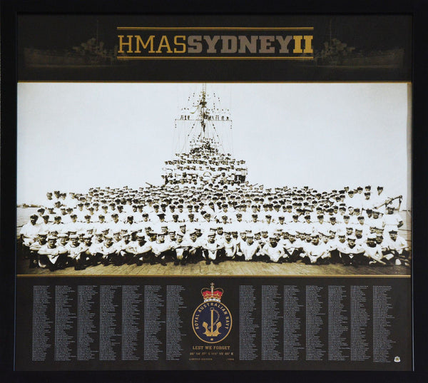 HMAS Sydney II - Lest We Forget Framed Poster - WWII