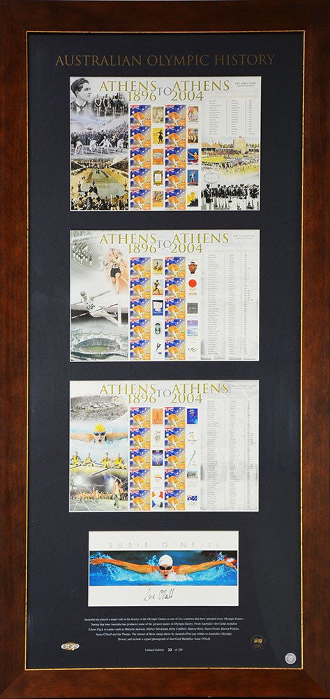 Australian Olympic Stamp Sheets Signed Susie O'Neill