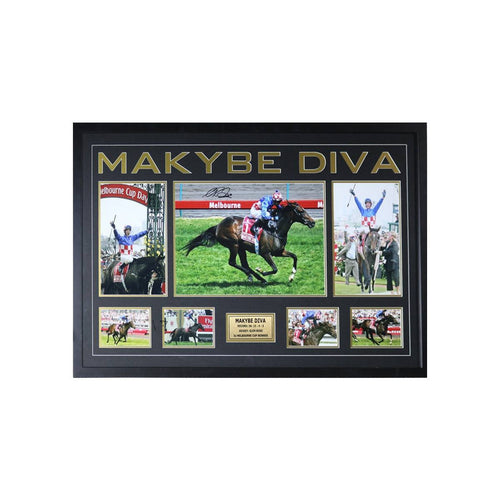 Makybe Diva Melbourne Cup Framed/Signed by Glen Boss