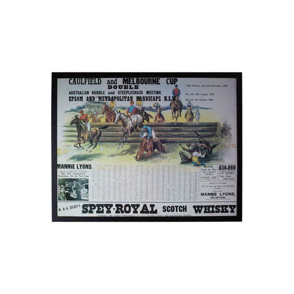1926 Caulfield and Melbourne Cup Double Framed