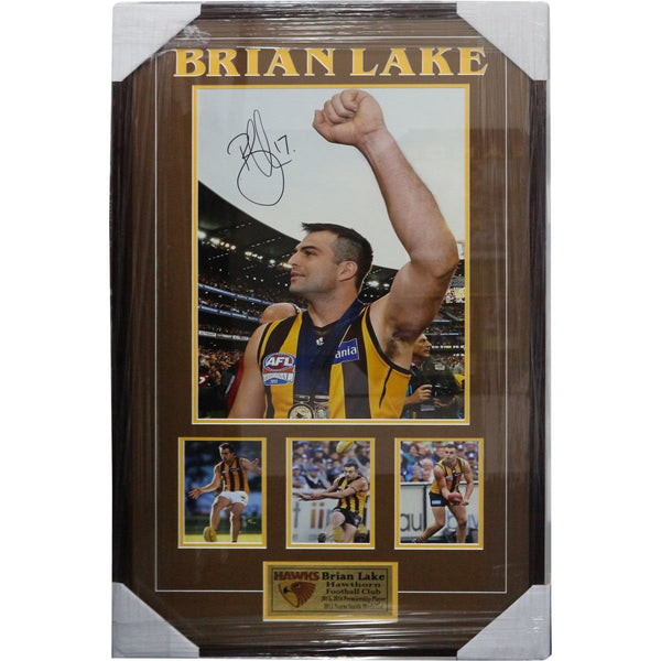 Brian Lake - Hawthorn Hawks Framed Piece with Signature