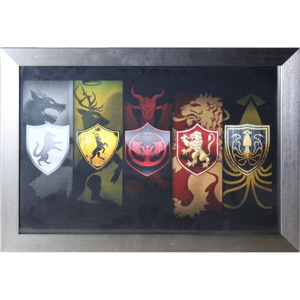 Game of Thrones House Emblems Poster Framed