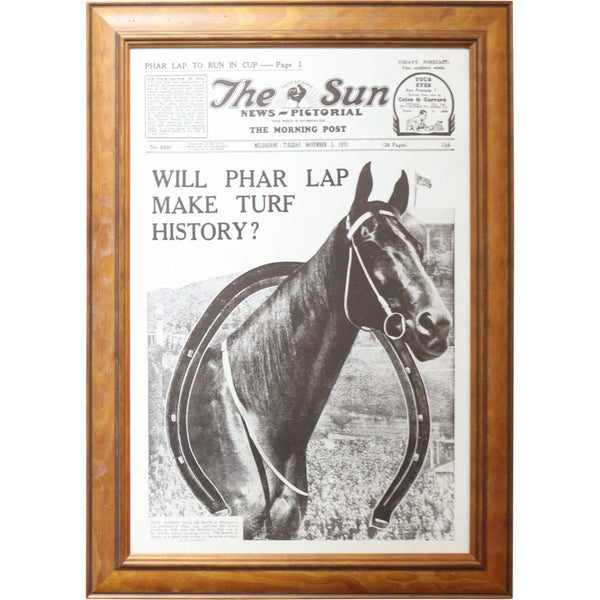 PHAR LAP-Will Par Lap Make Turf History? - The Sun Poster - Timber Frame
