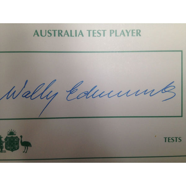 Australian Test Cricketer Card Signed - Wally Edwards