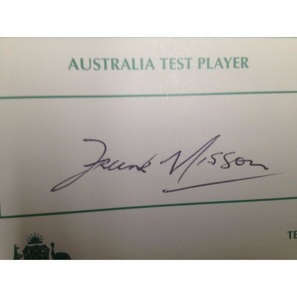 Australian Test Cricketer Card Signed - Frank Mission