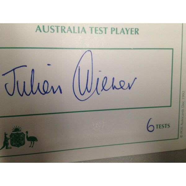 Australian Test Cricketer Card Signed - Julien Wiener
