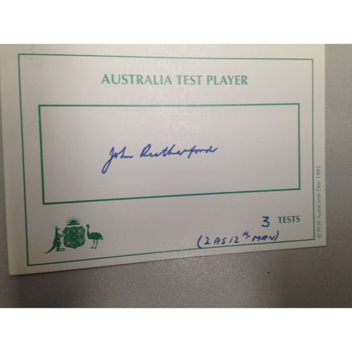 Australian Test Cricketer Card Signed - John Rutherford