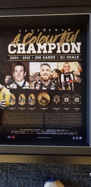 COLLINGWOOD-Dane Swan Signed Boot Tribute Frame