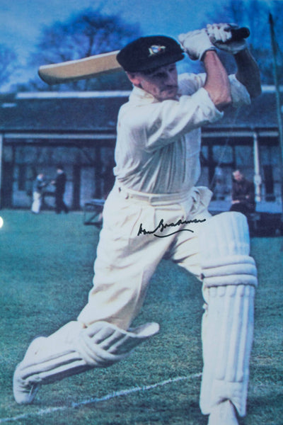 BRADMAN-Donald Bradman Signed Colour Photo with Baggy Green Cap from Bowral Museum