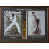 Donald Bradman mini bat signed photo