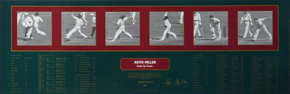 Keith Miller Frame By Frame Bowling Signed and Framed