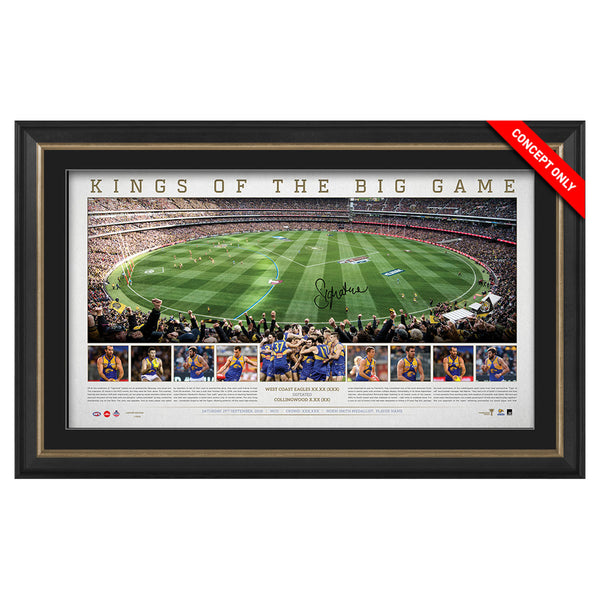 WEST COAST EAGLES SIGNED PANORAMIC 'KINGS OF THE BIG GAME' JOSH KENNEDY