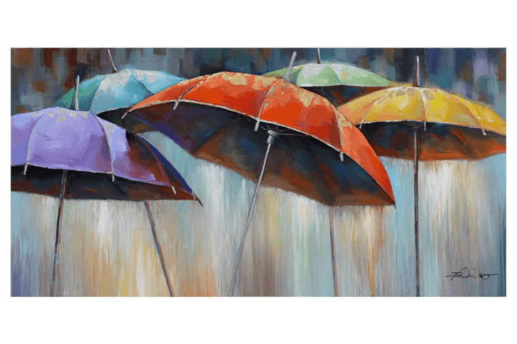Colourful Rain Umbrella 3D Framed Canvas