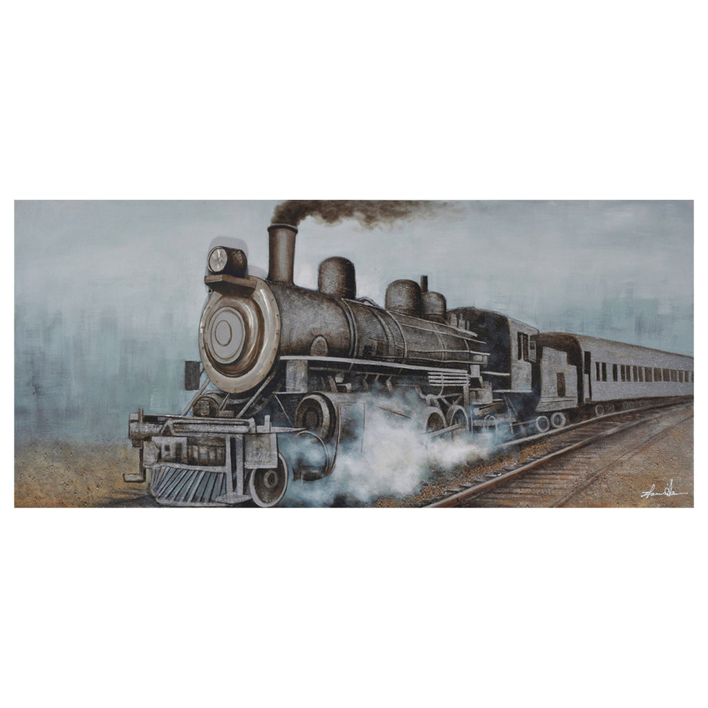 3D Train with Smoke Oil Painting