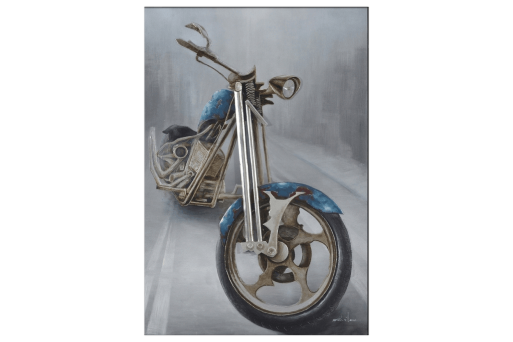 Chopper Motorcycle 3D Oil Painting