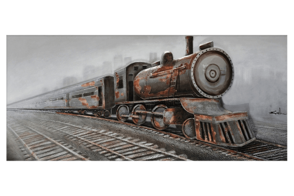 Train in motion 3D Framed Canvas