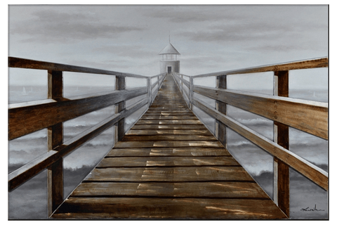 3D Pier to lighthouse Framed Canvas