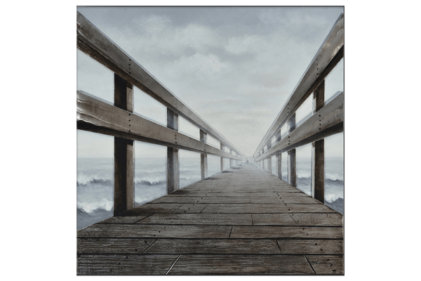 Timber rail pier 3D Framed Canvas