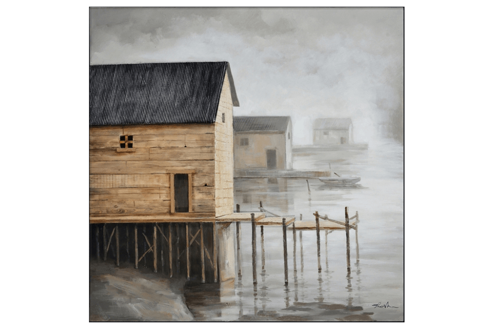 3D Boat Houses on stilts 3D Oil Painting