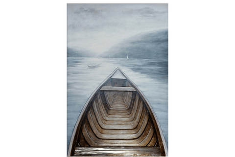 3D Row Boat Framed Canvas