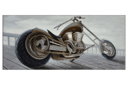 3D Chopper Motorcycle Profile Framed Canvas