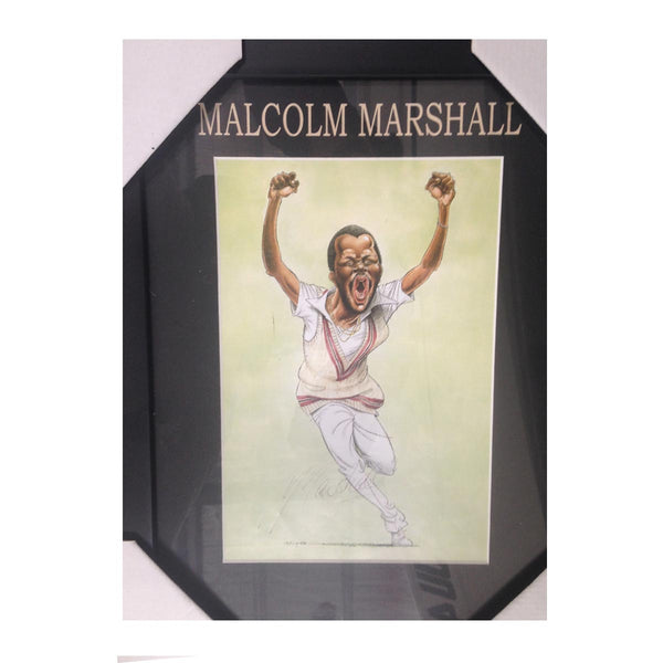 Malcolm Marshall - WI Test Cricketer CARICATURE SIGNED FRAME