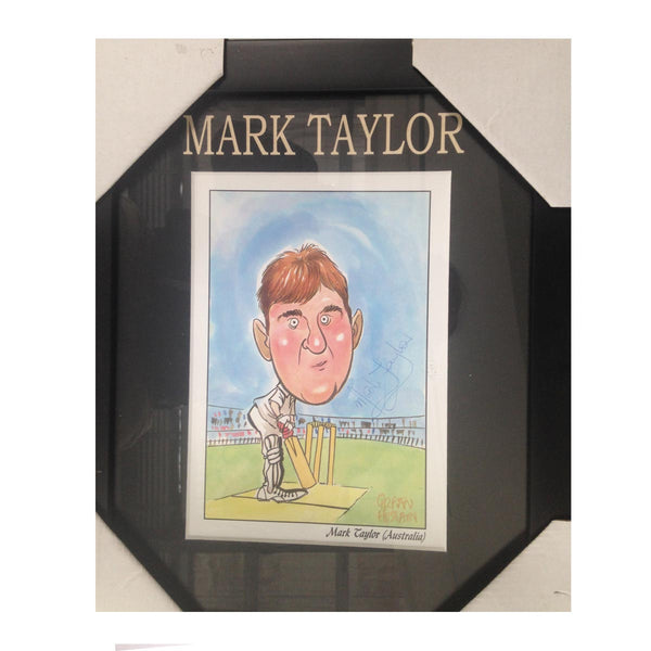 MARK TAYLOR AO Australian Test Player CARICATURE SIGNED FRAME