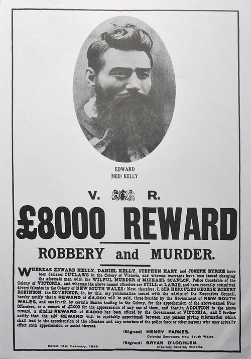 Ned Kelly 1879 Wanted Poster