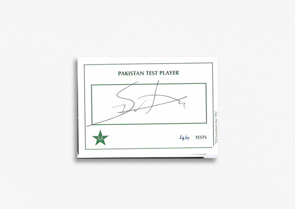 Pakistani Test Cricketer Card Signed - Shib Aktar