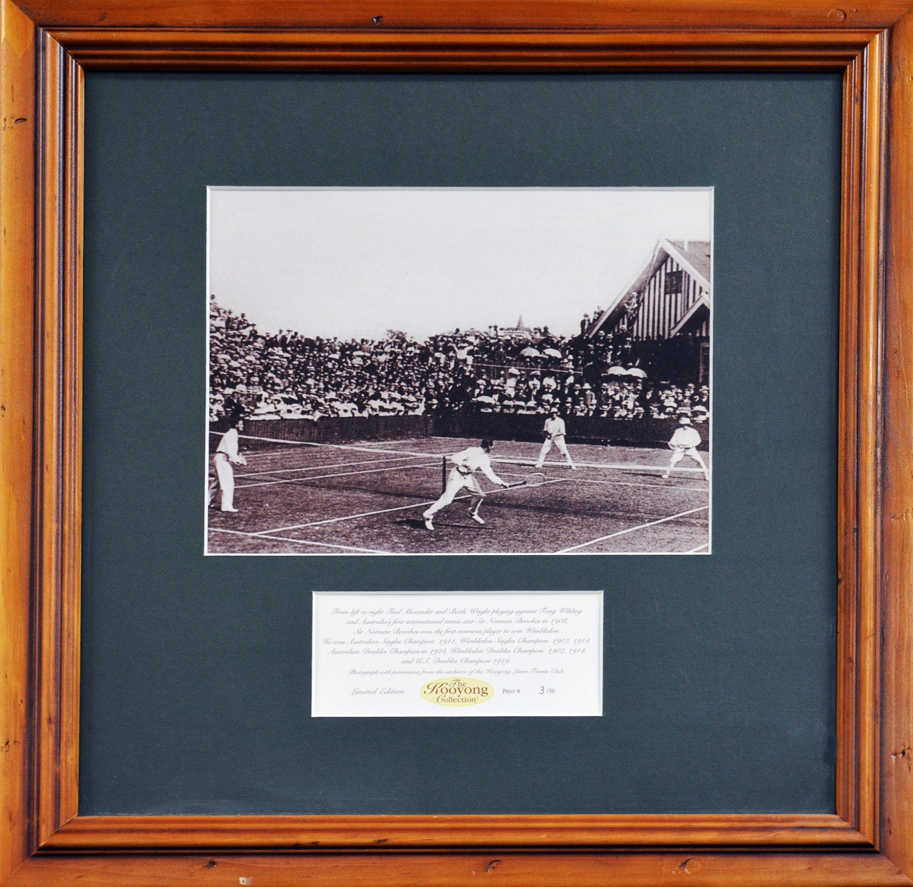Sir Norman Brookes Kooyong Collection Framed graph