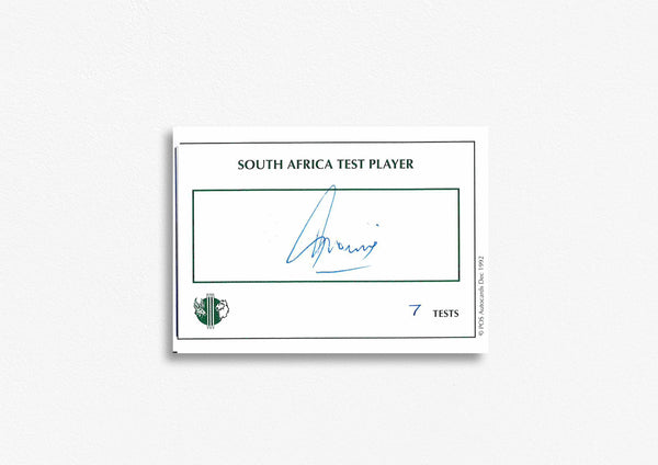 South African Test Cricketer Card Signed - T. Tricos