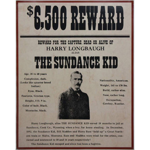 Wanted Dead or Alive The Sundance Kid Poster