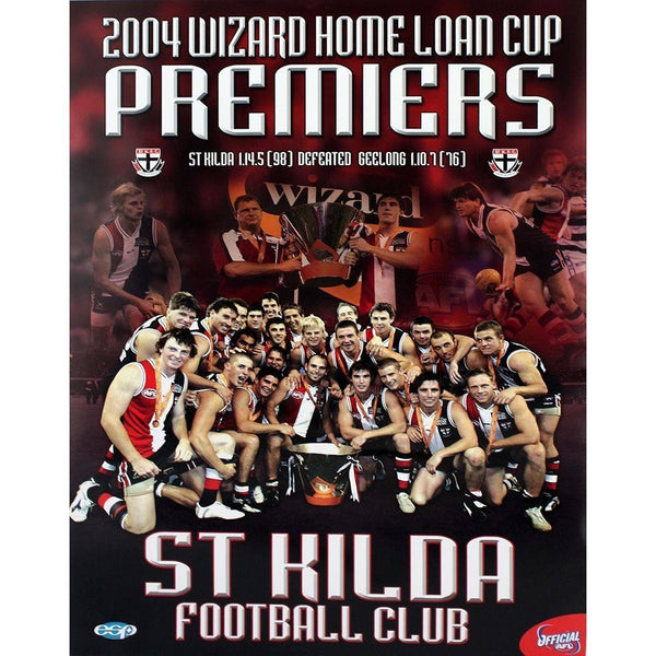 St Kilda Saints Official AFL 2004 Wizard Cup Premiers Poster