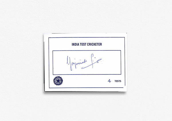 Indian Test Cricketer Card Signed - Yajurvindra Singh