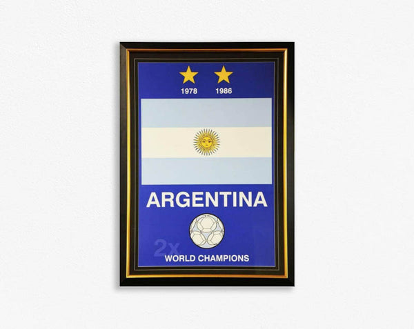 Argentina World Cup Champions 1978 1986 Poster Framed