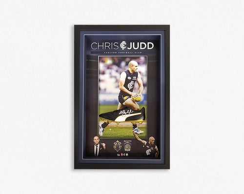 CARLTON-Chris Judd Signed Boot Tribute Frame