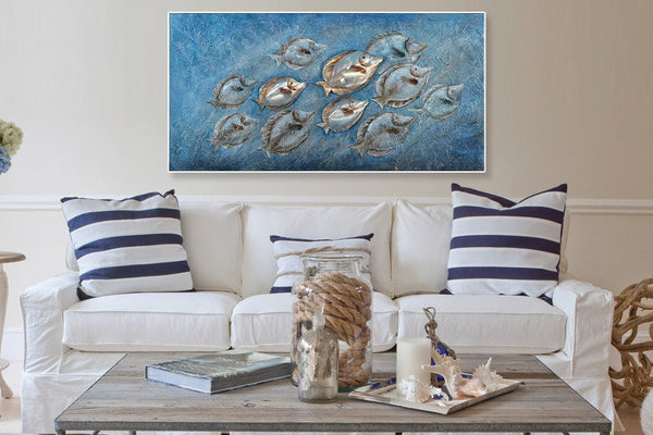 3D Life beneath the sea Framed Canvas