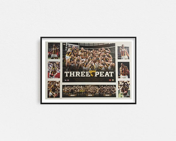 Hawthorn 'Three Peat' Poster Framed