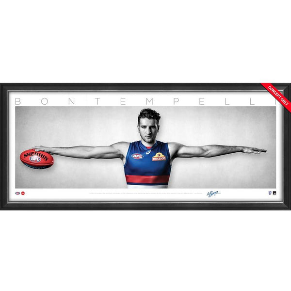 WESTERN BULLDOGS - Marcus Bontempelli Signed Western Bulldogs Mini Wings Official AFL Print FRAMED